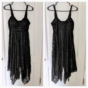 Olivia Matthews Black Embroidered Midi Dress